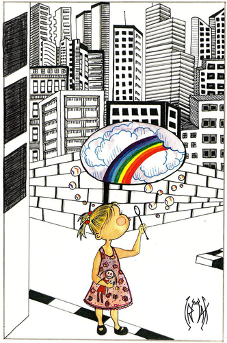 Cartoon: CHILDHOOD DREAMS (medium) by majezik tagged child,metropol,city,rainbow