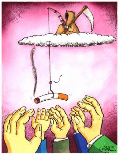 Cartoon: fishing with cigarettes (medium) by corne tagged death,fishing,cigarettes,smoke,died,