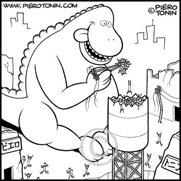 Cartoon: Godzilla (medium) by Piero Tonin tagged eating,eat,japane,chopsticks,chopstick,food,japanese,godzilla