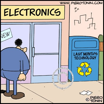 Cartoon: Recycling (medium) by Piero Tonin tagged piero,tonin,recycling,recycle,technology,computer,computers,marketing,business,digital,consumerism,mass,consumption