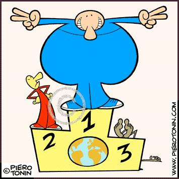 Cartoon: The 3 Worlds (medium) by Piero Tonin tagged hunger,europe,america,africa,world,third,second,first,tonin,piero