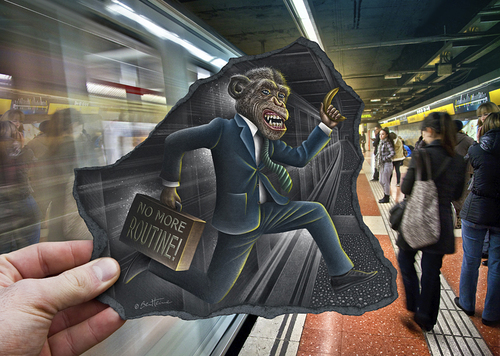 Cartoon: Pencil Vs Camera - 64 (medium) by BenHeine tagged mixed,paper,black,smart,elegant,spain,barcelona,subway,metro,jump,banana,system,madness,routine,kingkong,bond,james,monkey,betaversion,beta,illusion,series,creative,augmentedreality,benheine,pencilvscamera,sketch,augmented,surrealism,reality,imagination,photography,drawing,heine,ben,art,camera,vs,pencil