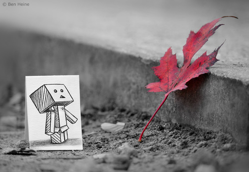 Cartoon: Something in Common (medium) by BenHeine tagged art,be,my,friend,ben,heine,cute,danbo,danboard,japanese,manga,kaiyodo,miura,hayasaka,pencil,vs,camera,revoltech,robot,samsung,something,in,common,the,artistery,yotsuba,nature,autumn,fall,selective,color,red,opposition,friendship,curiosity,question,pavemen