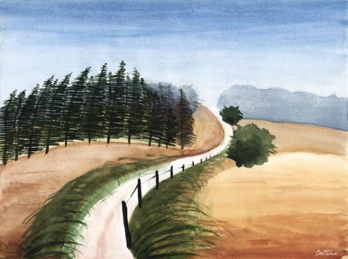 Cartoon: Watercolour Landscape Study 5 (medium) by BenHeine tagged watercolour,landscape,study,ben,heine,painting,peinture,colors,aquarelle,pinetrees,sapins,watercolor,soft,doux,pastel,blend,mix,nature,wild,hues,tones,sauvage,countryside,campagne,travel,voyage,freedom,liberte,path,chemin,vanishing,point,atmosphere