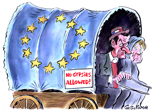 Cartoon: No Gypsies (medium) by Christo Komarnitski tagged eu,gypsies,france,sarkozy