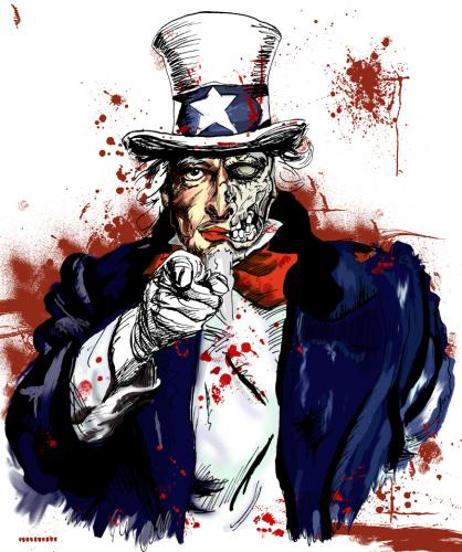 Cartoon: Uncle Sam (medium) by Harlekin1979 tagged uncle,sam,onkel,amerika,america,usa,united,states,politik,politic,war,krieg,tod,death,horror,zombie,blut,blood,gewalt,aggression,agression,