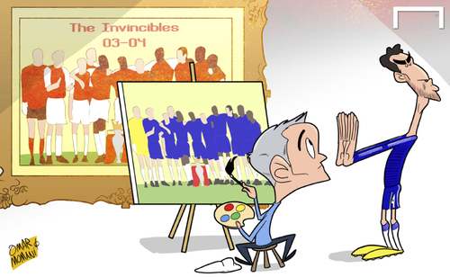 Cartoon: Chelsea to Invincibles (medium) by omomani tagged chelsea,arsenal