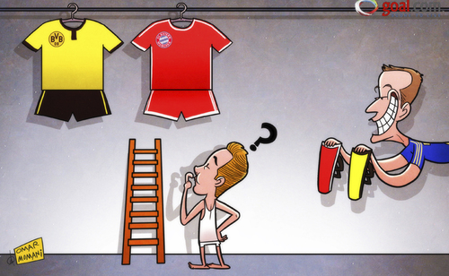 Cartoon: Gotze ready to do a Terry (medium) by omomani tagged bayern,munich,champions,league,chelsea,dortmund,gotze,john,terry