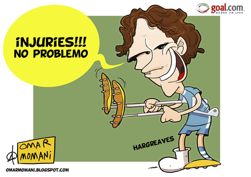 Cartoon: Hargreaves is back (medium) by omomani tagged england,hargreaves,manchester,city,premier,league