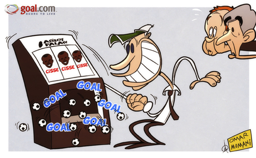 Cartoon: Its goals galore! (medium) by omomani tagged alan,pardew,arsenal,england,newcastle,united,papiss,cisse,premier,league,redknapp,tottenham,wenger