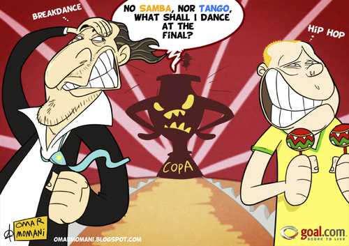 Cartoon: NO SAMBA NO TANGO (medium) by omomani tagged brazil,argentina,batista,menezes,copa,america,soccer,football,no
