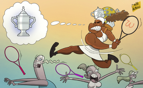 Cartoon: Serena Williams (medium) by omomani tagged serena,williams,us,open