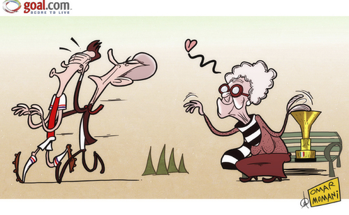 Cartoon: The Old Lady fails to woo RVP (medium) by omomani tagged arsenal,juventus,van,persie,wenger