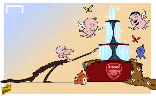 Cartoon: Wenger drinking from Arsenal (medium) by omomani tagged arsenal,wenger