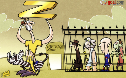 Cartoon: Zlatan goes into the dictionary (medium) by omomani tagged zorro,zoo,zombie,zidane,zinedine,zeus,zebra,sweden,ibrahimovic