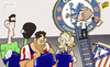 Cartoon: Mourinho gives Chelsea an Atleti (small) by omomani tagged atletico,madrid,chelsea,diego,costa,filpe,luis,mourinho,thibaut,courtois