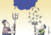 Cartoon: EU Agrarreform (small) by Pfohlmann tagged karikatur,color,farbe,2011,europa,agrarreform,eu,subvention,subventionen,agrarsubventionen,bauer,landwirt,mistgabel,geld,geldschein,banknote,regen,wolke,sterne,landwirtschaft,umschichtung
