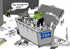 Cartoon: FDP containern (small) by Pfohlmann tagged karikatur,cartoon,farbe,color,2014,deutschland,gründe,fdp,container,abfall,reste,bundestag,lücke,containern,wiederverwertung,recycling,resteverwertung,müll,göring,eckardt