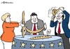 Cartoon: Flexibles Baguette (small) by Pfohlmann tagged karikatur,cartoon,color,farbe,2014,europa,eu,merkel,hollande,gabriel,frankreich,deutschland,baguette,flexibel,defizit,defizitkriterien,stabilitätspakt,stabil,reformen