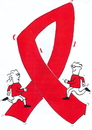 Cartoon: aids red ribbon (small) by sabine voigt tagged aids,red,ribbon,hiv,krankheit,medizin,medikament,krankenversicherung