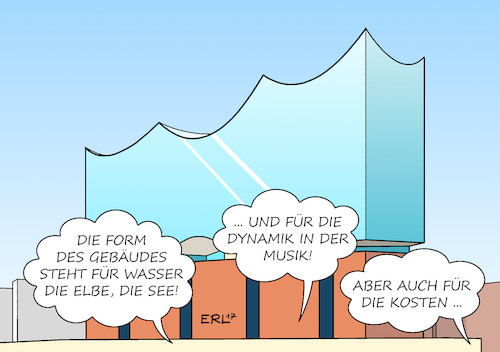 Cartoon: Elbphilharmonie (medium) by Erl tagged kultur,kunst,musik,konzertsaal,hamburg,elbphilharmonie,akustik,architektur,gebäude,form,welle,wasserwelle,wasser,elbe,hafen,meer,see,dynamik,kosten,kostenexplosion,geld,karikatur,erl,kultur,kunst,musik,konzertsaal,hamburg,elbphilharmonie,akkustik,architektur,gebäude,form,welle,wasserwelle,wasser,elbe,hafen,meer,see,dynamik,kosten,kostenexplosion,geld,karikatur,erl