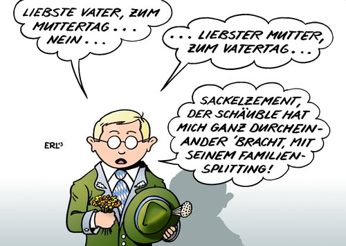Cartoon: Familiensplitting (medium) by Erl tagged schäuble,ehegattensplitting,familiensplitting,ehe,homoehe,gleichstellung,csu,generalsekretär,dobrindt,familienbild,tradition,mutter,vater,muttertag,vatertag,schäuble,ehegattensplitting,familiensplitting,ehe,homoehe,gleichstellung,csu,generalsekretär,dobrindt,familienbild,tradition,mutter,vater,muttertag,vatertag