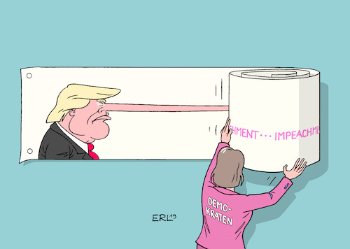 Cartoon: Impeachment-Entwicklung (medium) by Erl tagged politik,usa,donald,trump,impeachment,amtsenthebungsverfahren,telefonat,präsident,ukraine,wolodymyr,selenskyj,drängen,untersuchung,sohn,joe,biden,demokrat,präsidentschaft,bewerber,konkurrent,whistleblower,demokraten,nancy,pelosi,karikatur,erl,politik,usa,donald,trump,impeachment,amtsenthebungsverfahren,telefonat,präsident,ukraine,wolodymyr,selenskyj,drängen,untersuchung,sohn,joe,biden,demokrat,präsidentschaft,bewerber,konkurrent,whistleblower,demokraten,nancy,pelosi,karikatur,erl