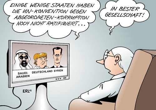 Cartoon: Korruption (medium) by Erl tagged un,konvention,korruption,abgeordnete,politiker,politik,staat,ratifizierung,verzug,saudi,arabien,deutschland,syrien,gesellschaft,merkel,assad,un,konvention,korruption,abgeordnete,politiker,politik,staat,ratifizierung,verzug,saudi arabien,saudi,arabien