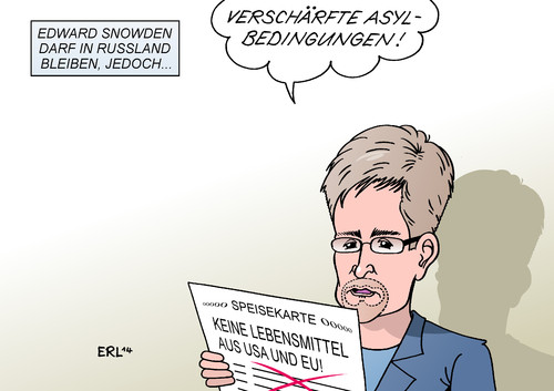 Cartoon: Snowden Asyl (medium) by Erl tagged usa,geheimdienst,whistleblower,edward,snowden,nsa,abhöraffäre,asyl,russland,ukraine,konflikt,sanktionen,eu,boykott,lebensmittel,speisekarte,usa,geheimdienst,whistleblower,edward,snowden,nsa,abhöraffäre,asyl,russland,ukraine,konflikt,sanktionen,eu,boykott,lebensmittel,speisekarte