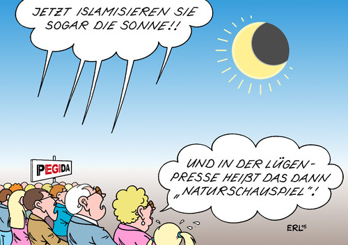 Cartoon: Sonnenfinsternis (medium) by Erl tagged sonnenfinsternis,partiell,sonne,mond,astronomie,pegida,rechtspopulismus,islamisierung,halbmond,islamophobie,medien,presse,lügenpresse,naturschauspiel,karikatur,erl,sonnenfinsternis,partiell,sonne,mond,astronomie,pegida,rechtspopulismus,islamisierung,halbmond,islamophobie,medien,presse,lügenpresse,naturschauspiel