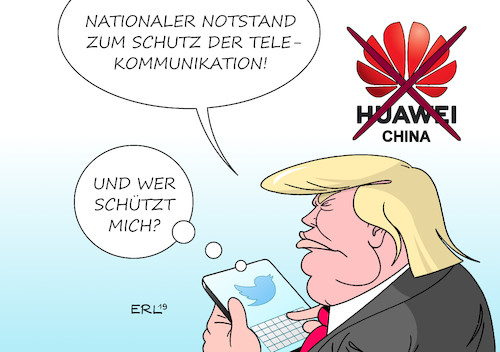 Cartoon: Trump gegen Huawei (medium) by Erl tagged politik,wirtschaft,telekommuniktion,usa,präsident,donald,trump,rechtspopulismus,nationalismus,handel,barrieren,notstand,telekommunikation,behinderung,china,huawei,vogel,twitter,karikatur,erl,politik,wirtschaft,telekommuniktion,usa,präsident,donald,trump,rechtspopulismus,nationalismus,handel,barrieren,notstand,telekommunikation,behinderung,china,huawei,vogel,twitter,karikatur,erl