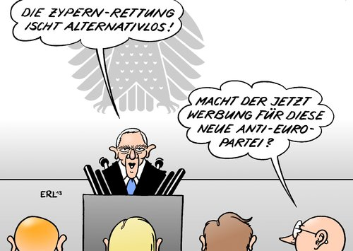 Cartoon: Zypern-Rettung (medium) by Erl tagged wolfgang,finanzminister,bundestag,antieuro,deutschland,alternative,neu,partei,alternativlos,zypern,rettungspaket,rettungsschirm,rettung,krise,euro,eu,schäuble,eu,euro,krise,rettung,rettungsschirm,rettungspaket,zypern,alternativlos,partei,neu,alternative,deutschland,antieuro,finanzminister,wolfgang,schäuble