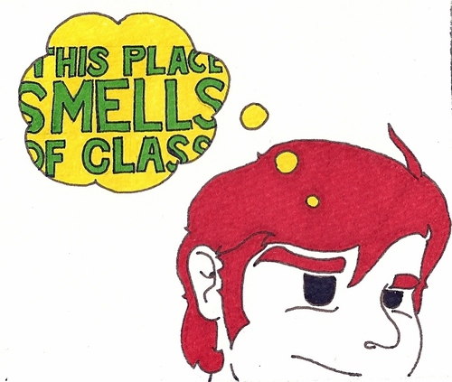 Cartoon: This Place Smells of Class (medium) by robobenito tagged this,place,smells,like,class,head,red,hair,redhead,man,face,nose,eyes,bubble,comment,odor,wondering,thinking,thought,bourgeois,comic,sideburns,macho