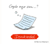 Cartoon: Denkzettel (small) by Martina Hillemann tagged zettel,papier,gedanke,denken,sprache,wort