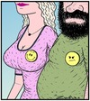 Cartoon: A not-so-happy Smiley Face (small) by Tony Zuvela tagged smiley,face,not,so,happy,chest,large,breasted,woman,envy,badge,smile,good,looking,ugly,novelty,gift