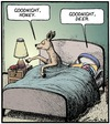 Cartoon: Goodnight Honey (small) by Tony Zuvela tagged goodnight,honey,deer,doe,dear,food,animal,bedtime,lights,out,go,to,sleep,married,couple