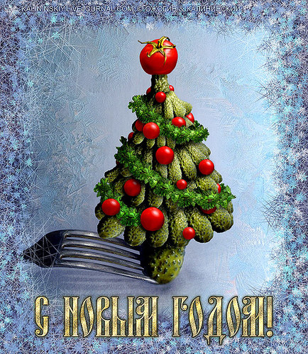 Cartoon: The green beauty. Happy New Year (medium) by Kalininskiy tagged new,year