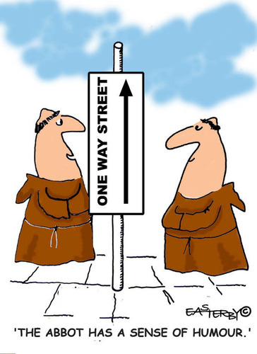 Cartoon: HOLY ORDERS 4 english (medium) by EASTERBY tagged monks,halos,heaven