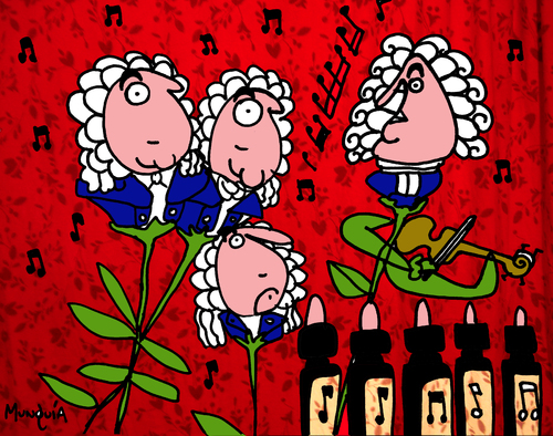 Cartoon: Bach Flowers (medium) by Munguia tagged bach,flowers,music,therapy