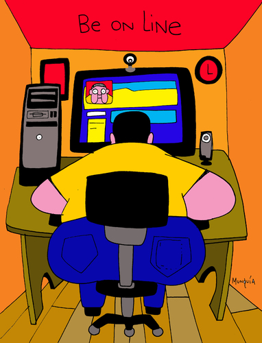 Cartoon: Be online (medium) by Munguia tagged calcamunguia,online,line,in,linea,fat,computer,facebook,tech