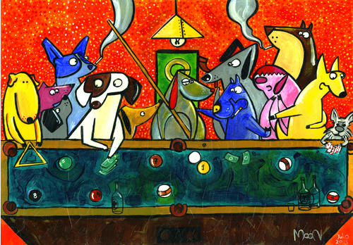 Cartoon: Dogs Playing (medium) by Munguia tagged last,supper,da,vinci,dogs,playing,cards,pool,billard,8ball,ball,munguia,famous,paintings,parodies,picture