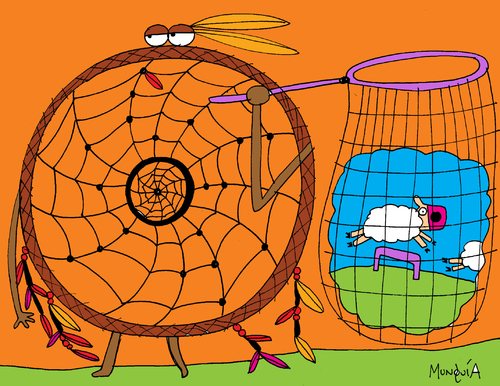 Cartoon: Dream Catcher (medium) by Munguia tagged dream,catcher,sheep,indian,munguia,costa,rica,caricaturas
