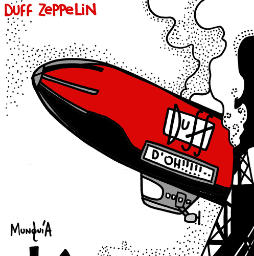 Cartoon: Duff Zeppelin (medium) by Munguia tagged hindenburg,disaster,led,zeppelin,duff,ballon,simpson,cover,album,parody,fake,beer,rock,disc