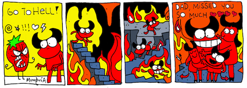 Cartoon: Go to hell (medium) by Munguia tagged go,to,hell,pisuicas,pantys,comic,strip,tira,comica,cartoon
