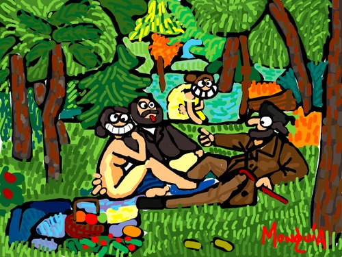 Cartoon: Nyah nyah (medium) by Munguia tagged le,dejeuner,sur,herbe,almuerzo,campestre,edouard,manet,nude,paintings,parodies,nyah
