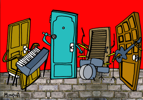 Cartoon: The Doors (medium) by Munguia tagged 70s,rock,music,morrison,jim,woman,la,doors,the