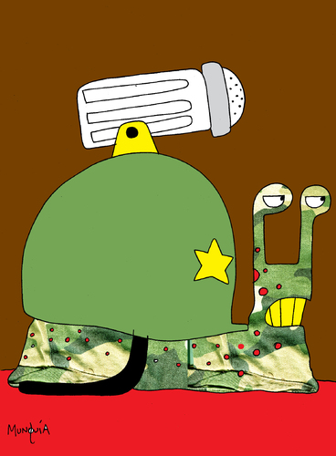 Cartoon: War Snail (medium) by Munguia tagged war,snail,soldier,caracol,shell,salt,sal,killer,enemy,fight,fighter,hate