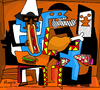 Cartoon: 3 eaters (small) by Munguia tagged threee,musicians,tres,musicos,pablo,picasso,famous,paintings,parodies,food,music