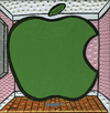 Cartoon: Apple (small) by Munguia tagged rene,magritte,the,listening,room,big,apple,famous,paintings,parodies,calcamunguias,version,spoof