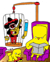 Cartoon: charro in captivity (small) by Munguia tagged charro mexican caged cage jail captivity cautiverio canary canario singer sing music